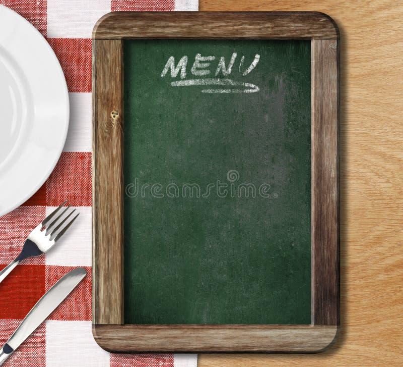 在红色被检查的桌布的菜单黑板 免版税库存照片