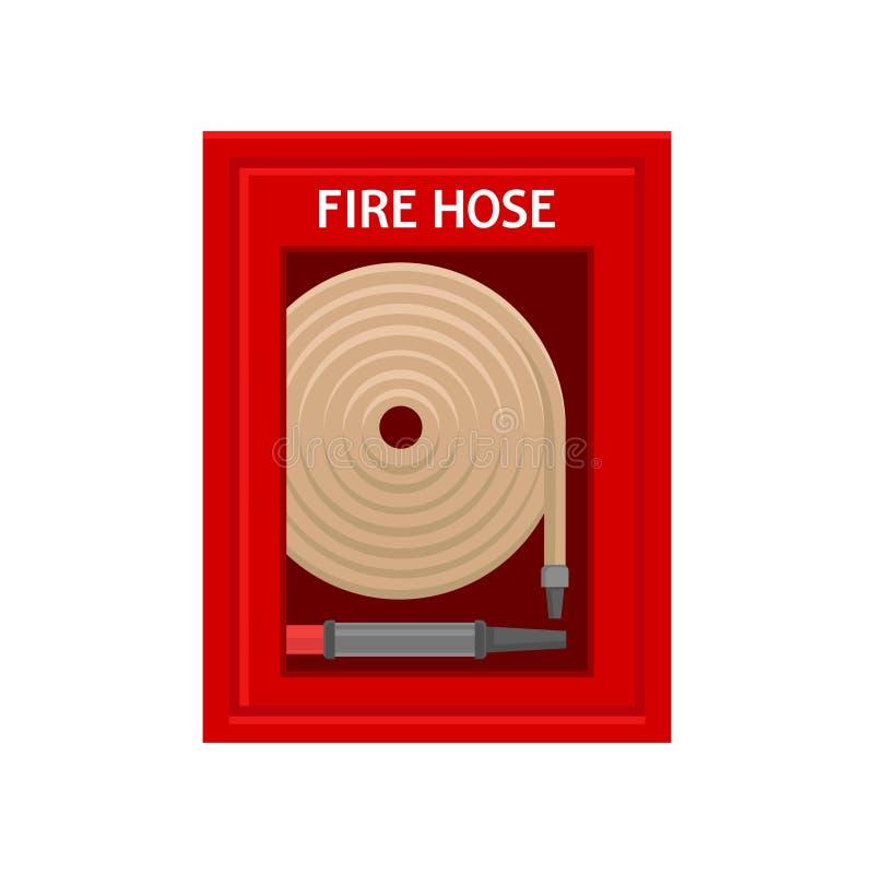 在红色金属墙壁箱子里面的紧急灭火水龙带有玻璃的 火焰预防工具 五颜六色的平的传染媒介象 皇族释放例证