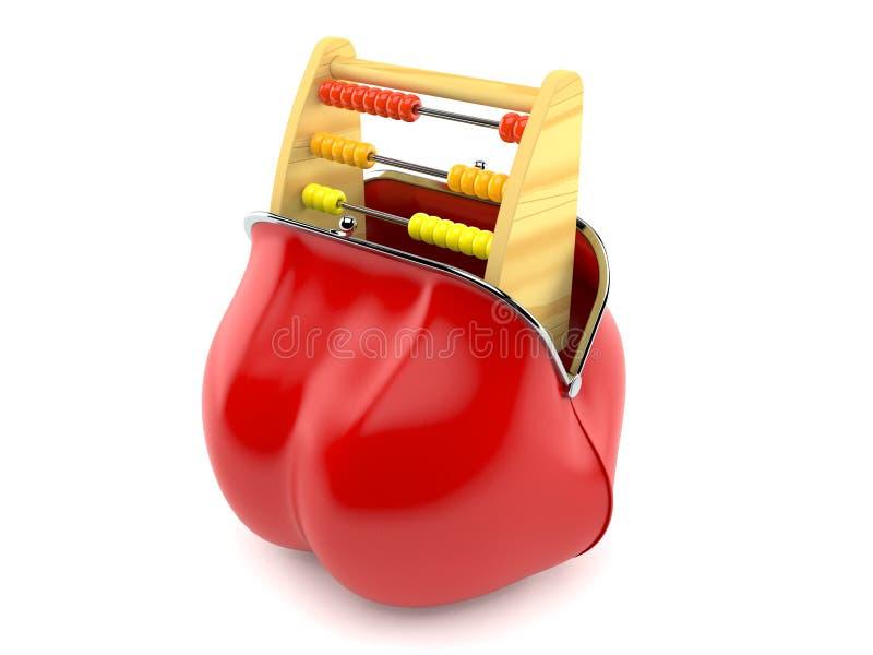 在红色钱包里面的木算盘 库存例证