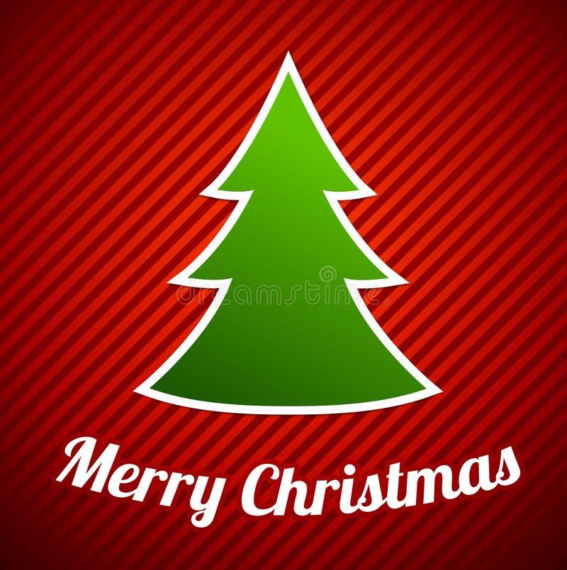 在红色镶边背景的绿色圣诞树 皇族释放例证