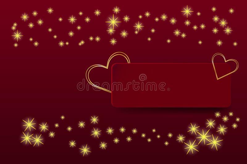 在红色长方形的两个金黄心脏框架 皇族释放例证