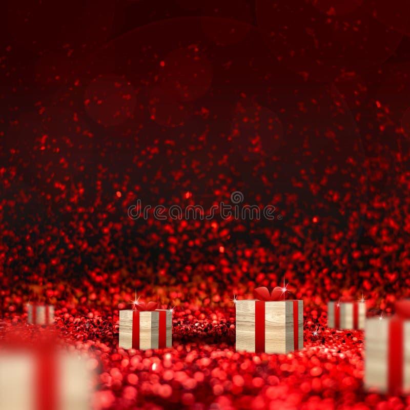 在红色闪耀的闪烁透视背景的木头当前箱子 免版税库存图片