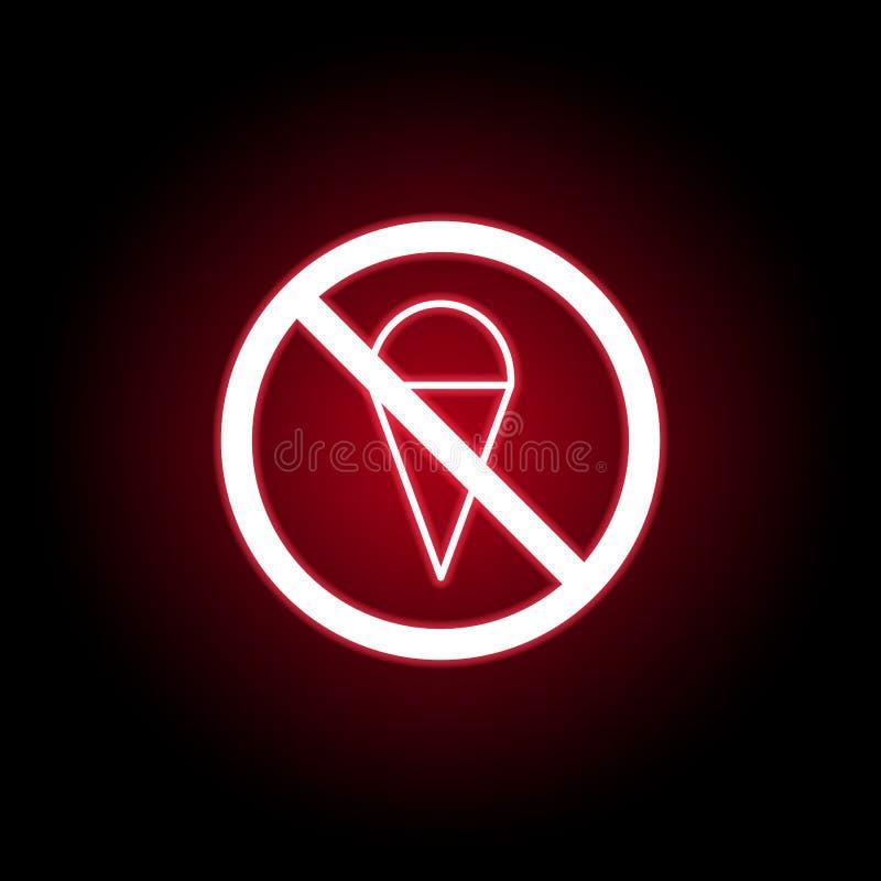 在红色霓虹样式的禁止的冰淇凌象 E 向量例证