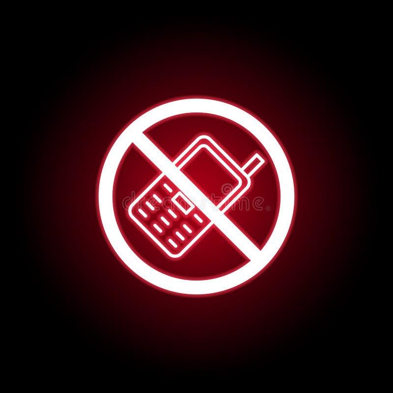 在红色霓虹样式的禁止的电话象 E 库存例证