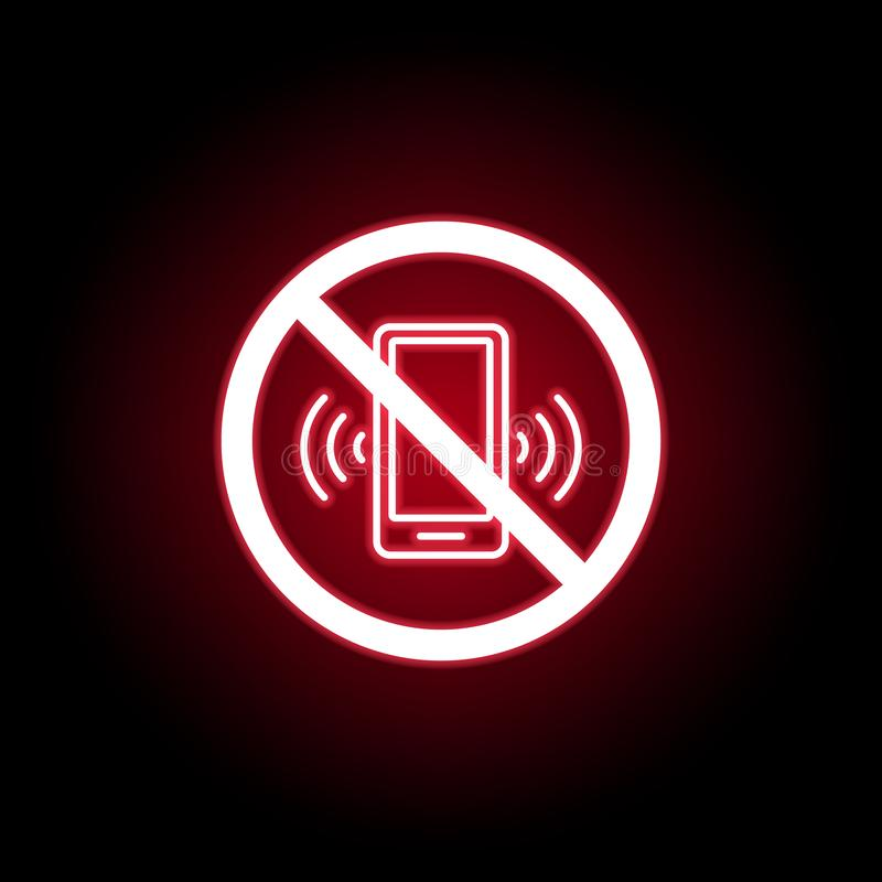 在红色霓虹样式的禁止的电话象 E 皇族释放例证