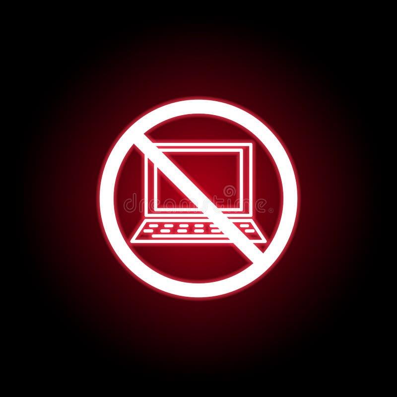 在红色霓虹样式的禁止的膝上型计算机象 E 向量例证