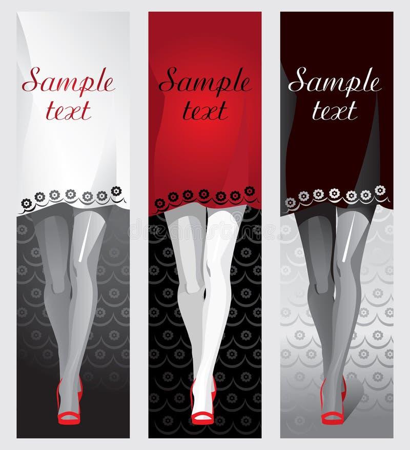 在红色鞋子的女性腿,一件礼服作为文本的背景 向量例证