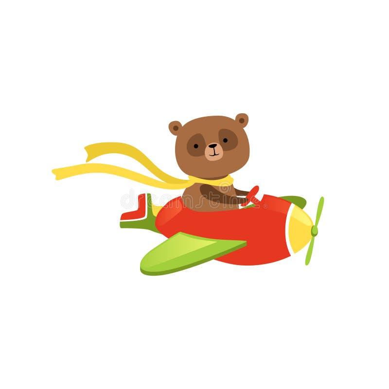 在红色飞机上的逗人喜爱的棕熊飞行 有围巾的滑稽的航空器飞行员在脖子 儿童T恤杉的平的传染媒介设计 库存例证