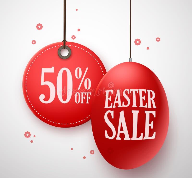 在红色鸡蛋的复活节销售与50%垂悬在白色背景中的价牌 皇族释放例证