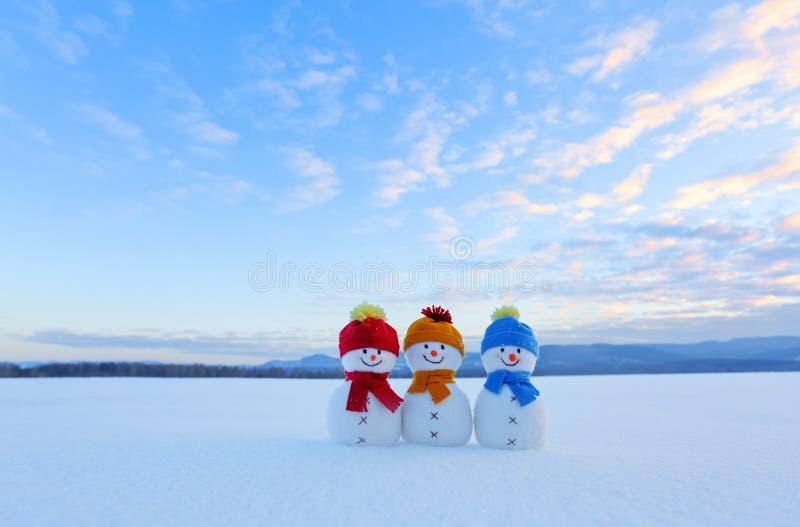 在红色,蓝色,黄色帽子和围巾的朋友雪人 与山的好的冬天风景,森林,在雪的领域 免版税库存照片