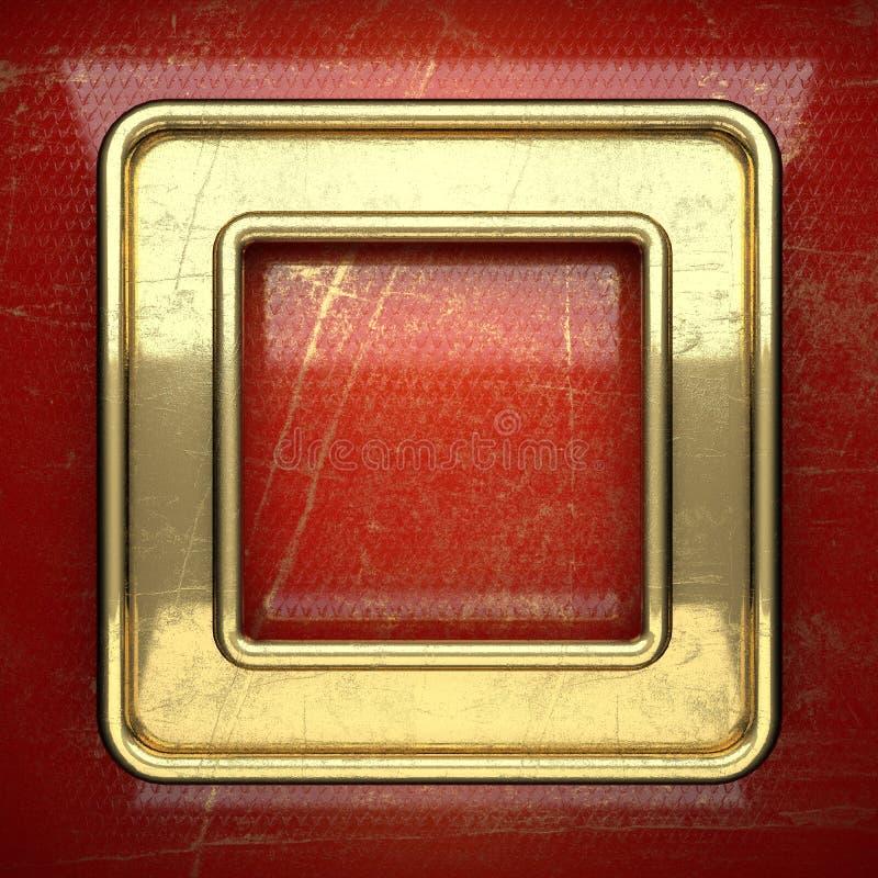 在红色绘的金黄背景 库存照片