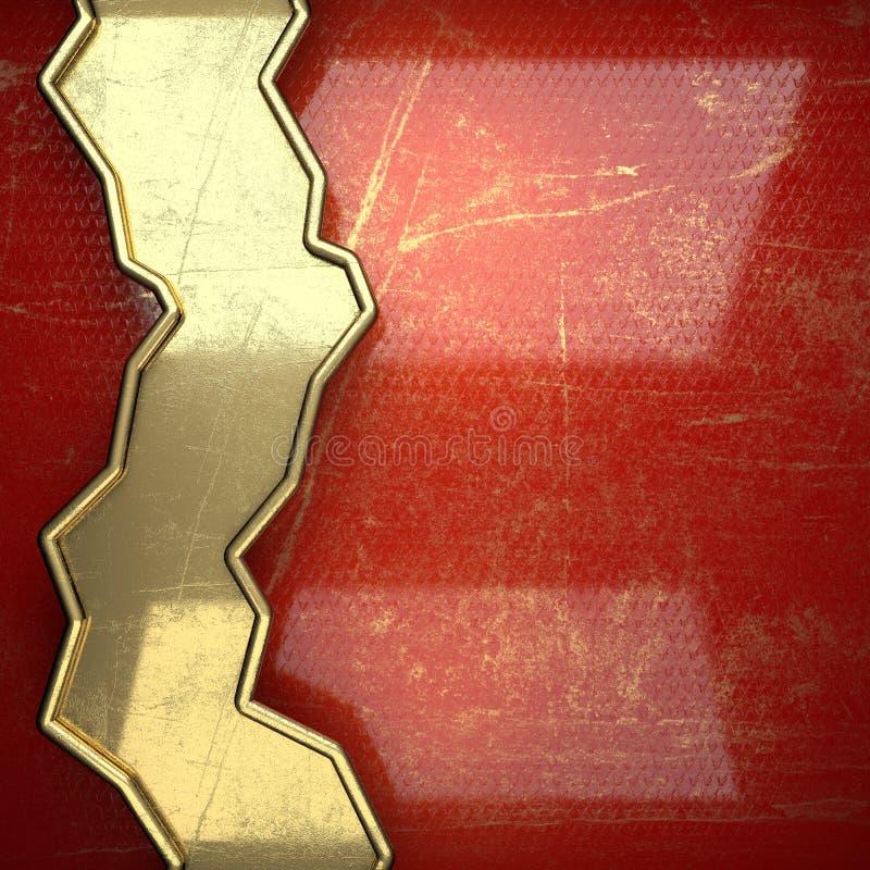 在红色绘的金黄背景 库存例证