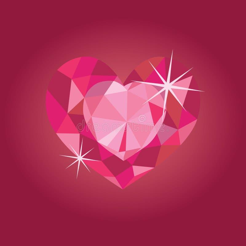在红色backrgound的红宝石心脏 向量例证