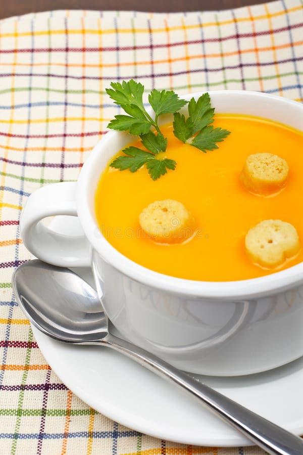 在红萝卜油煎方型小面包片纯汁浓汤上添面包 免版税库存照片