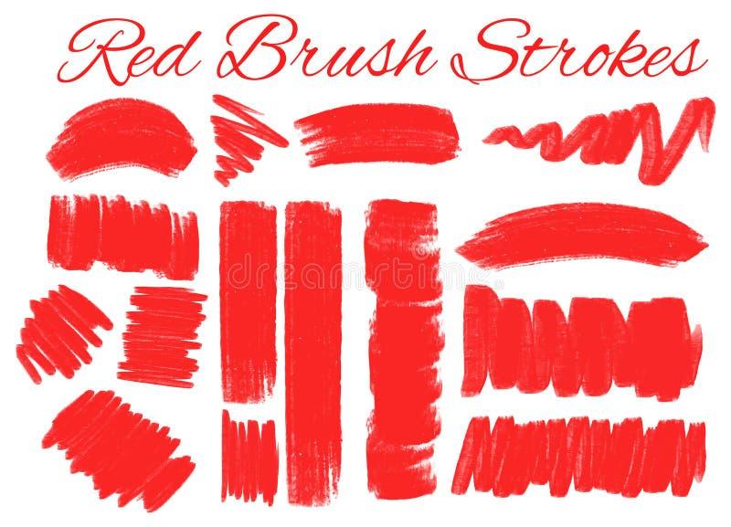 在红颜色的不同的冲程 向量例证