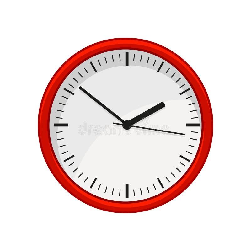 在红颜色的现代圆的办公室壁钟 时间安排 网站、流动app或者飞行物的平的传染媒介元素  向量例证