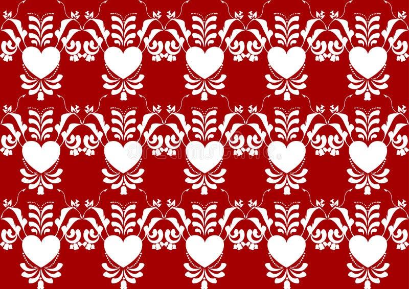 在红颜色背景的抽象心脏花纹花样 皇族释放例证