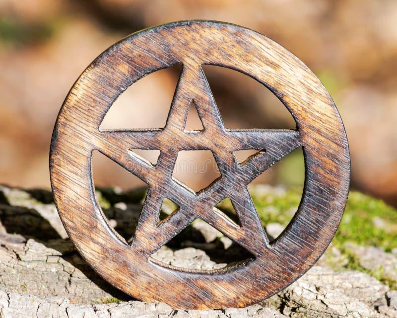 在纤维状树皮的木被包围的五角星形标志 五个元素:地球,水,空气,火,精神 免版税库存图片