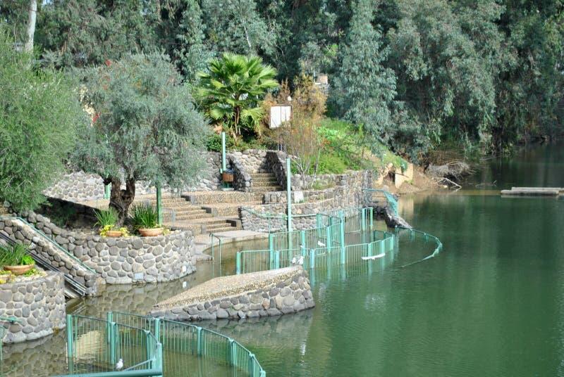在约旦河以色列的洗礼中心 库存照片