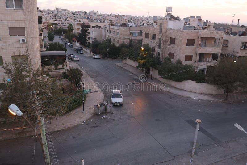 在约旦阿曼寺庙的街道在早晨 库存照片