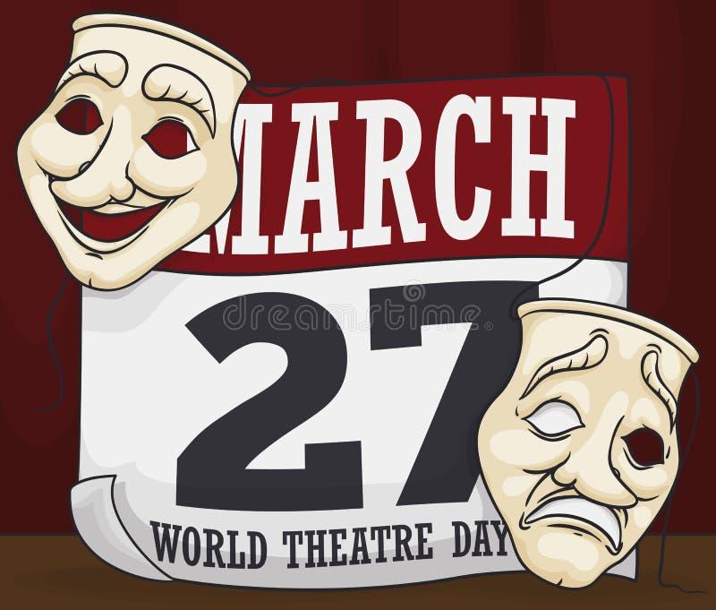 在纪念世界剧院天的活页日历的面具,传染媒介例证 皇族释放例证