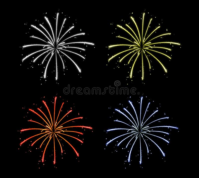 在纯净的黑暗的背景中隔绝的五颜六色的烟花 庆祝欢乐装饰 向量例证