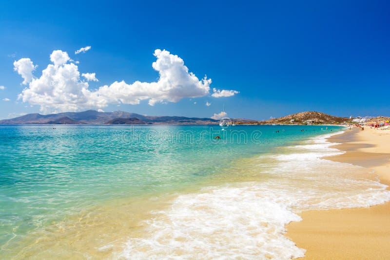 在纳克索斯岛,基克拉泽斯,希腊上的惊人的海滩 库存图片