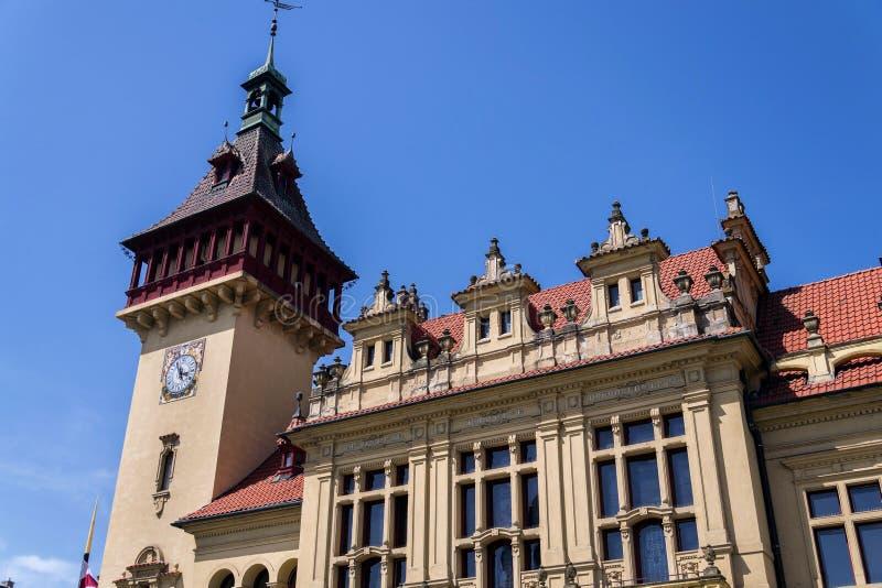 在纳帕耶德拉城镇厅外部的建筑细节在1903在Zlin附近,摩拉维亚,捷克修造了 免版税库存图片