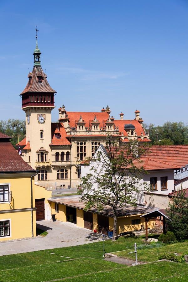 在纳帕耶德拉城镇厅外部的建筑细节在1903在Zlin附近,摩拉维亚,捷克修造了 图库摄影