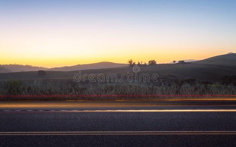 在纳帕谷,加利福尼亚的日落 免版税库存照片