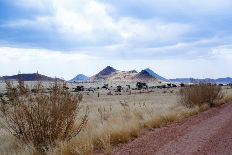 在纳米比亚moonscape风景的不尽的路 免版税库存照片
