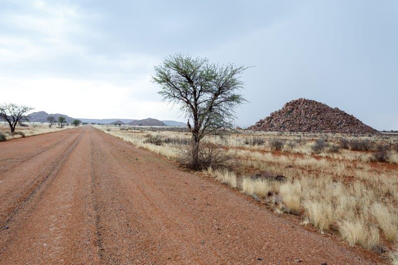 在纳米比亚moonscape风景的不尽的路 图库摄影
