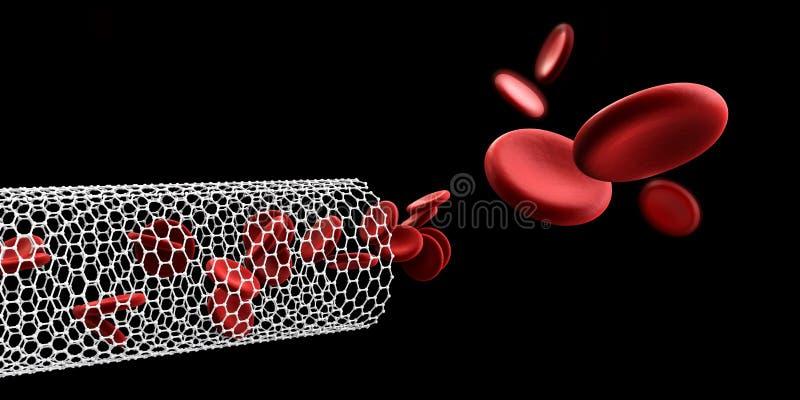 在纳诺管的红血球 血液元素,例证,隔绝了黑色 向量例证