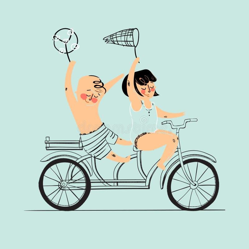 在纵排自行车的两个最好的朋友乘驾 平的设计 也corel凹道例证向量 查出 库存例证