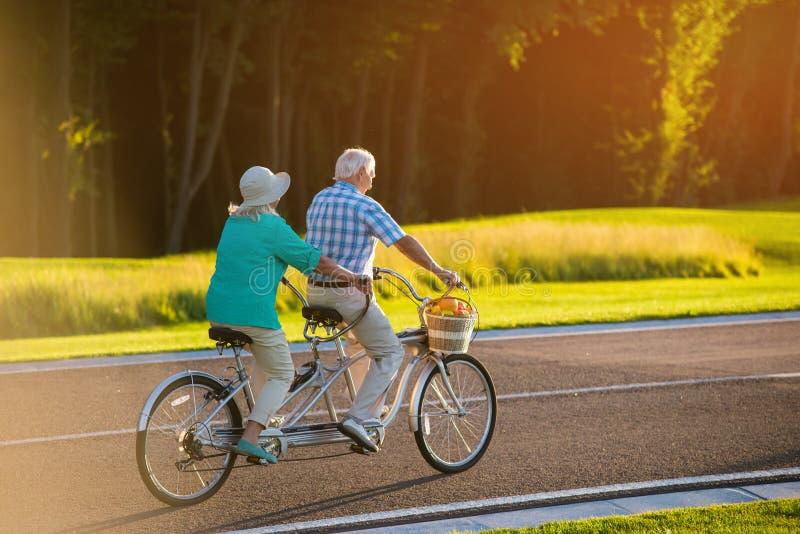 在纵排自行车的资深夫妇 库存照片