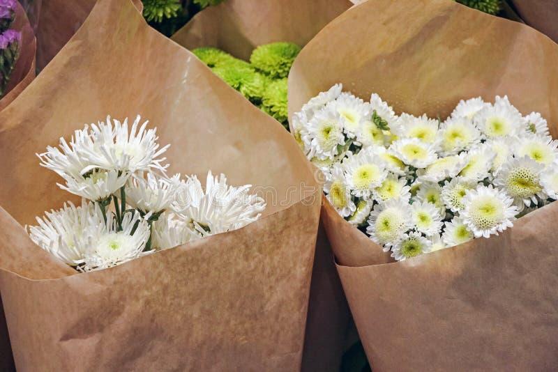 在纸包裹的菊花花 免版税库存照片