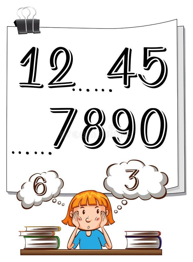 在纸和女孩认为的缺失的号码 向量例证