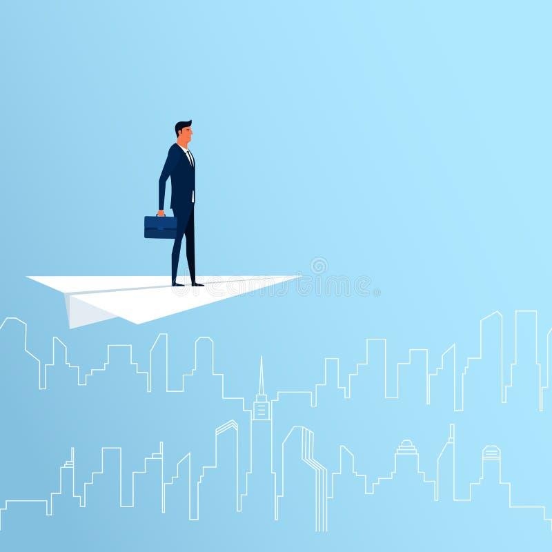 在纸平面寻找的成功,机会的商人飞行,未来事务趋向 3d女实业家指向远见字的概念现有量 向量例证