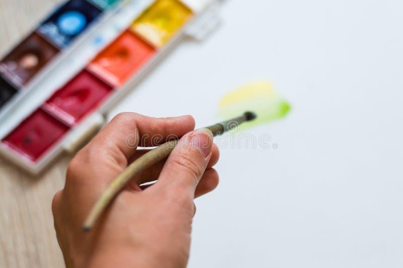 在纸张的毛笔画空的灰色现有量模仿 图库摄影