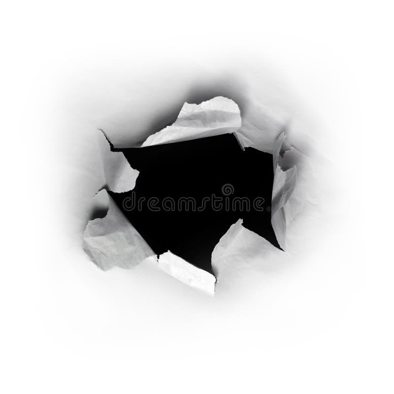 在纸张的漏洞 库存图片