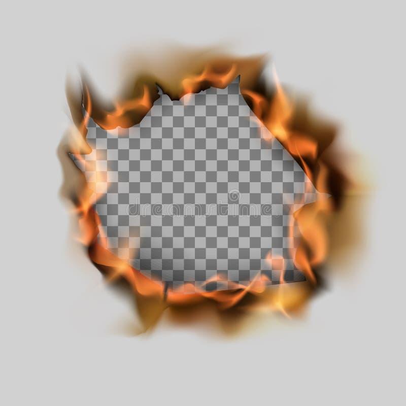 在纸板料和火焰的燃烧的被撕毁的孔 在透明背景的传染媒介例证 向量例证