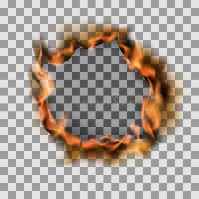 在纸板料的燃烧的被撕毁的孔 在透明背景的传染媒介例证 库存例证