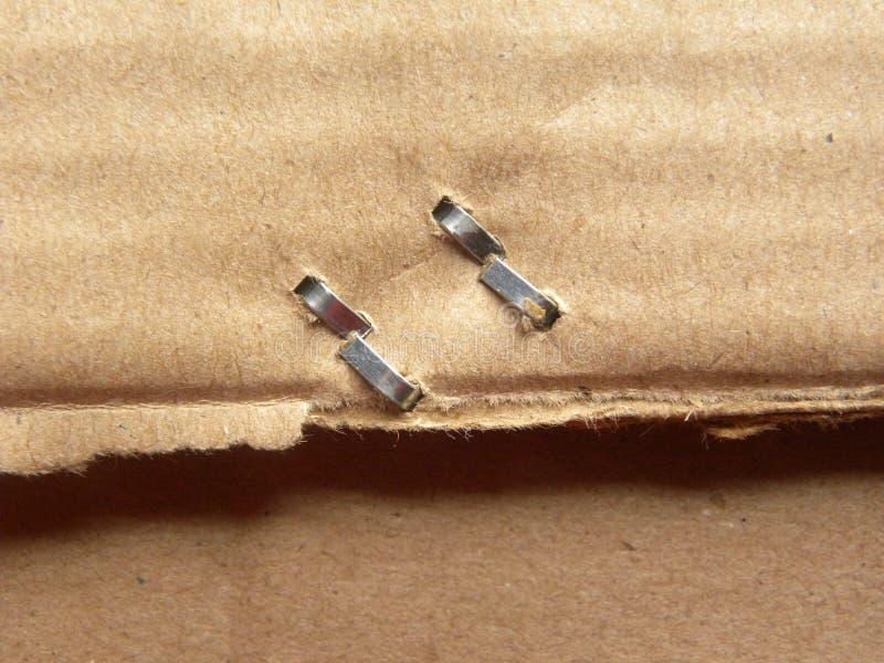 在纸板箱的钉书针 免版税库存图片