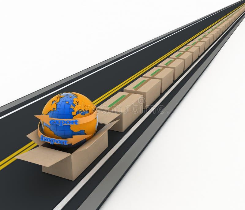 在纸板箱附近地球和小河在路的进口并且出口箭头 库存例证