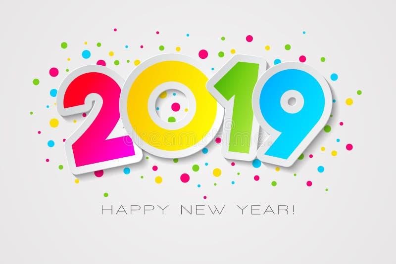 在纸样式的愉快的2019新年卡片您的季节性假日飞行物、问候和邀请卡片的 皇族释放例证