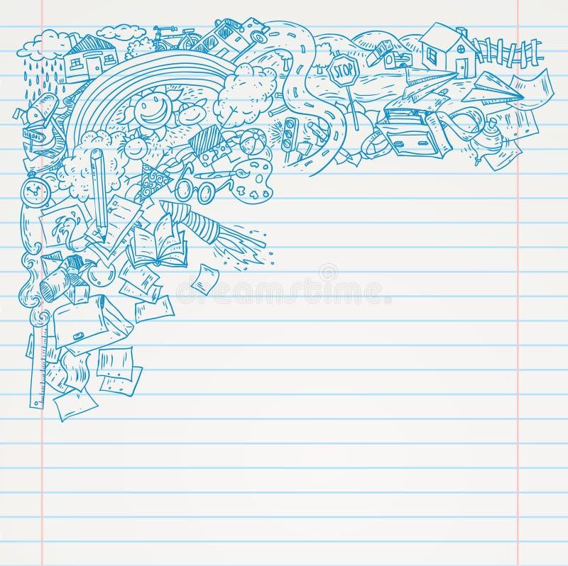在纸的学生乱画,回到学校写生簿例证 库存例证