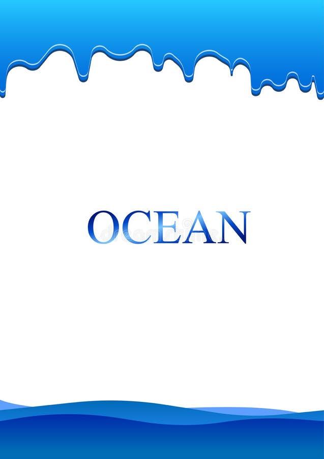在纸的海水小滴 向量例证