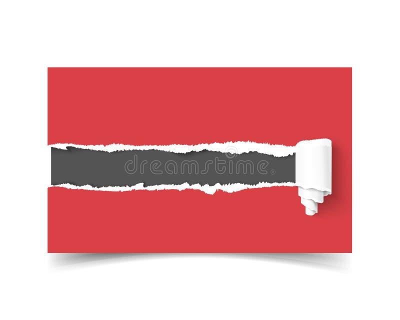 在纸的现实传染媒介模板名片孔与被撕毁的边缘和卷 向量例证