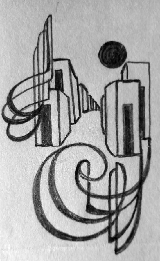 在纸的粗砺的抽象铅笔图 黑线和斑点 库存照片