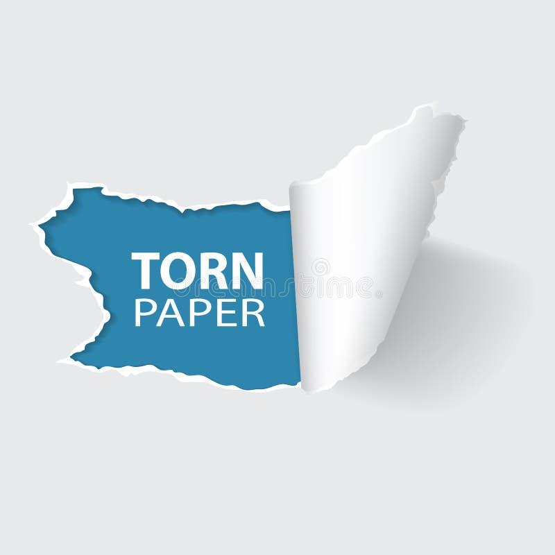 在纸的被撕毁的孔 库存例证
